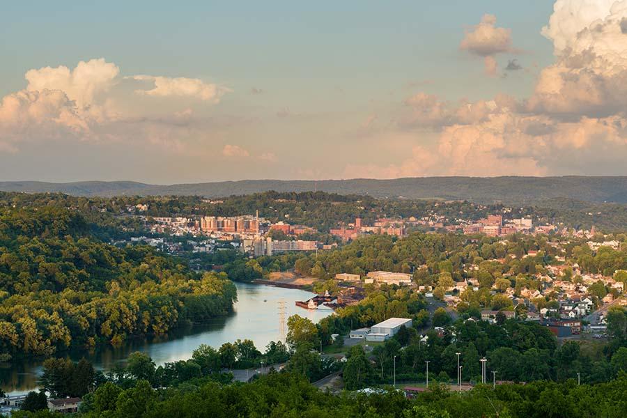Parkersburg WV - Aerial View Of City Of Parkersburg West Virginia